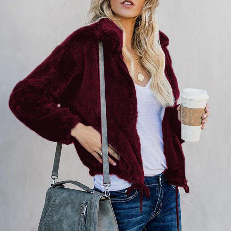 79dd577efab 2019 Fashion Lapel Zipper Sweatshirt Fleece Fur Coat 2018 Women Autumn Winter  Warm Soft Jacket Thick Plush Zipper Overcoat Outerwear From Yujian18, ...
