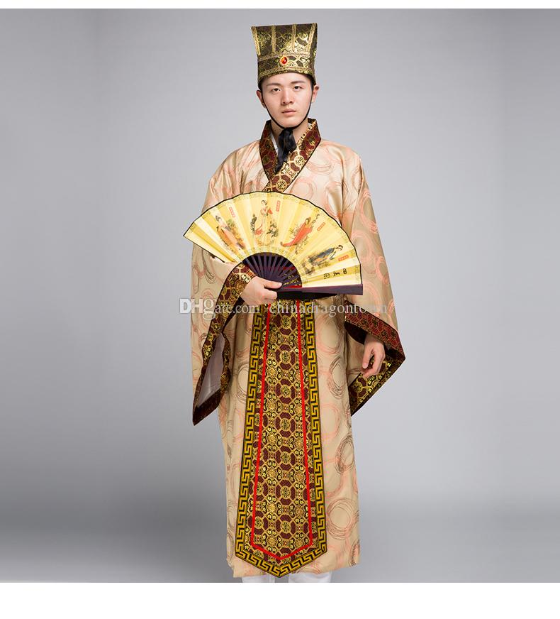 Longue robe pour homme Costume traditionnel chinois Homme Hanfu Vêtements National chinois ancien érudit robe TV film performance performance stade