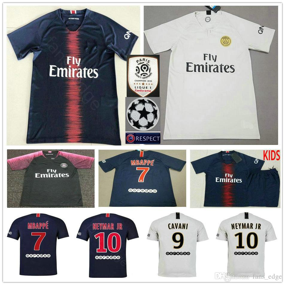 2019 18 19 Paris Saint Germain Soccer Jersey 7 MBAPPE 10 NEYMAR JR BUFFON  VERRATTI CAVANI Home Away Custom Adult Kids Woman Football Shirt From ... cd8fc3701