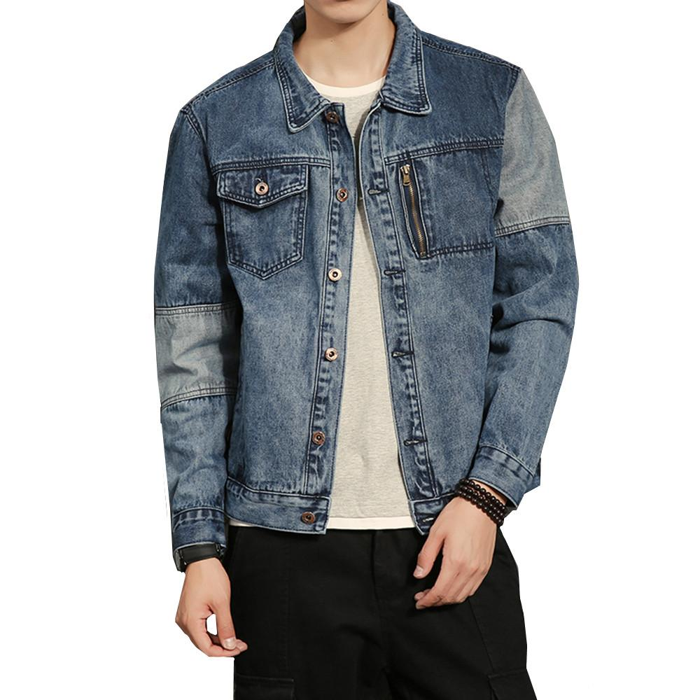 Men Retro Fashion Washed Denim Jacket Hip Hop Spring Autumn Splice Design  Male Casual Jean Coat Outerwear Plus Size M 5XL Black Coats And Jackets Mens  ... 09a87ed423bf