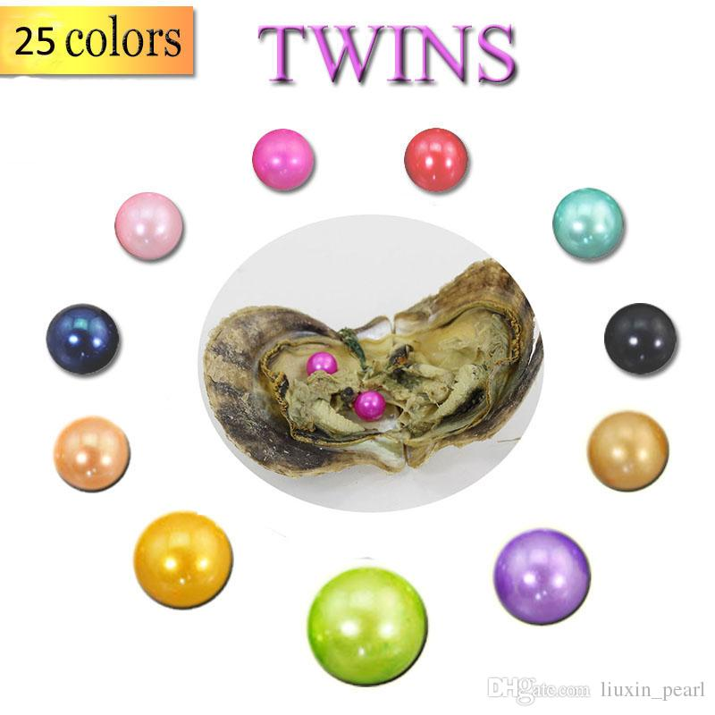 2018 Akoya Oyster Twins Pearl 6-7mm new 25 Mix color Seawater Gift DIY Natural Pearl Loose beads Decorations Vacuum Packaging Wholesale