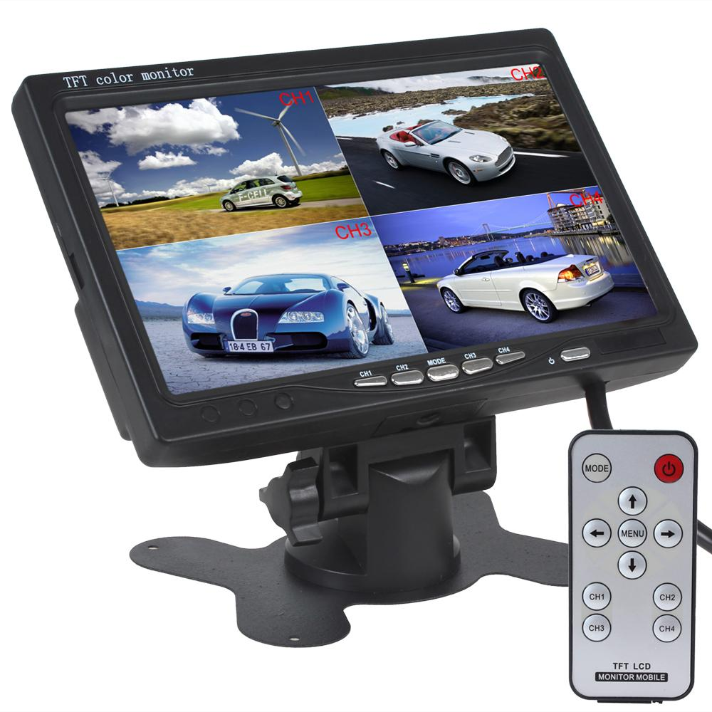 Car Lcd Tv 7 Inch TFT LCD Auto Rear View Rearview Monitor 4 Video Input Automatic Identify Signal With Tft