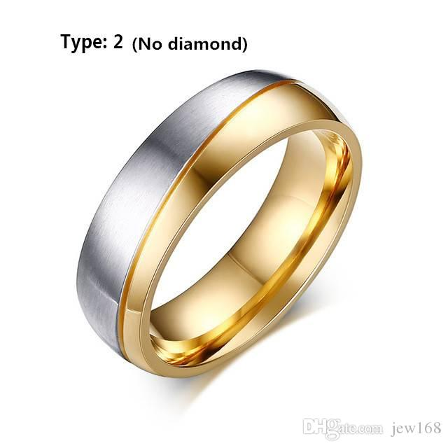 2018 hot trend net red 18K Gold Plated CZ Stainless Steel Couple Ring Men/Women Wedding Band Size 6-12