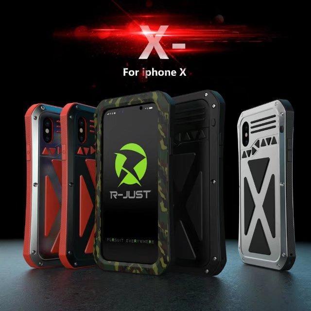 Novo R-JUST À Prova D 'Água À Prova de Choque X-Men Caso De Metal De Vidro temperado Para Apple Iphone X Silicone Alumínio Tampa Traseira casos