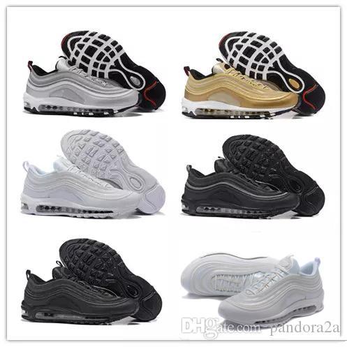 low cost f6acc 47e7f Acquista Nike Air Max Airmax 97 OG Tripel White Metallic Gold Silver Bullet  97 Best Quality WHITE 3M Premium Running Shoes Uomo Donna Spedizione  Gratuita A ...