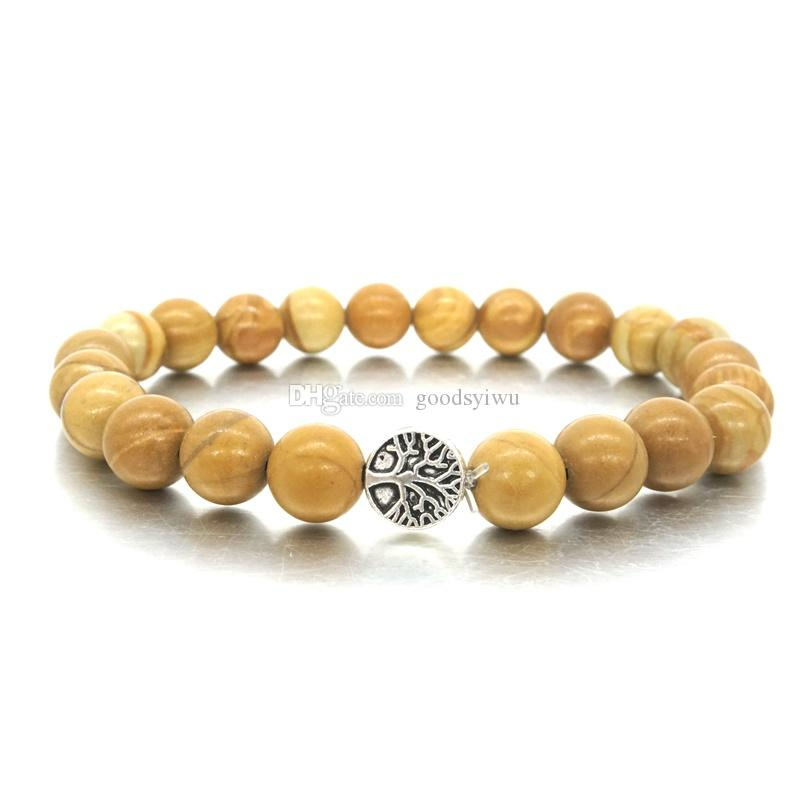 7df55ab6987a 8 MM perlas de piedra marrón claro pulsera árbol de la vida encantos  pulsera para hombres mujeres Stretch Yoga pulsera joyería hecha a mano