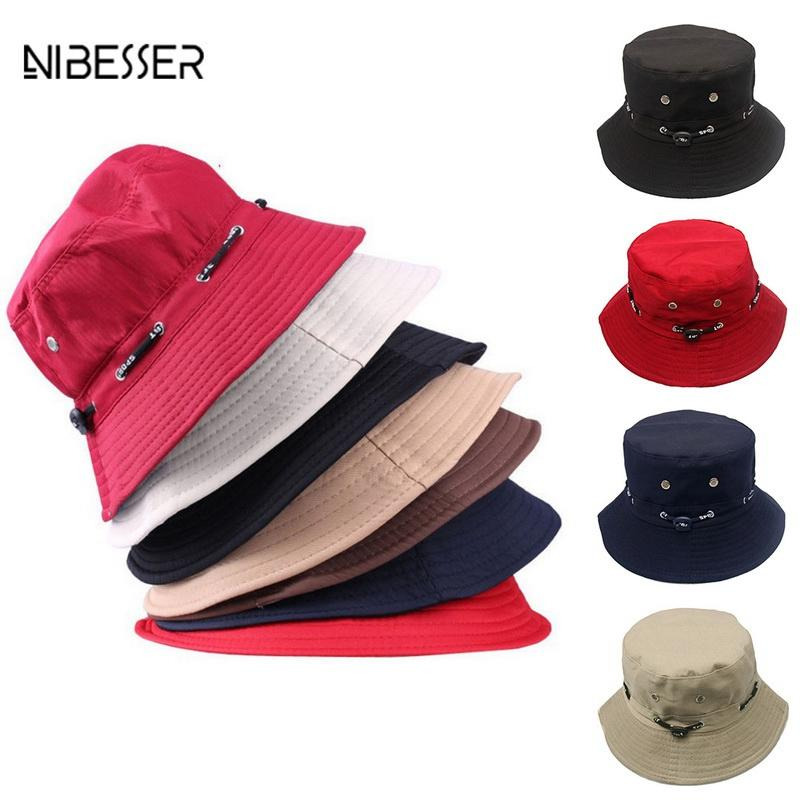 NIBESSER Bucket Hats For Women Men Fashion Solid Bucket Hats Hip Hop ... bc904155c02