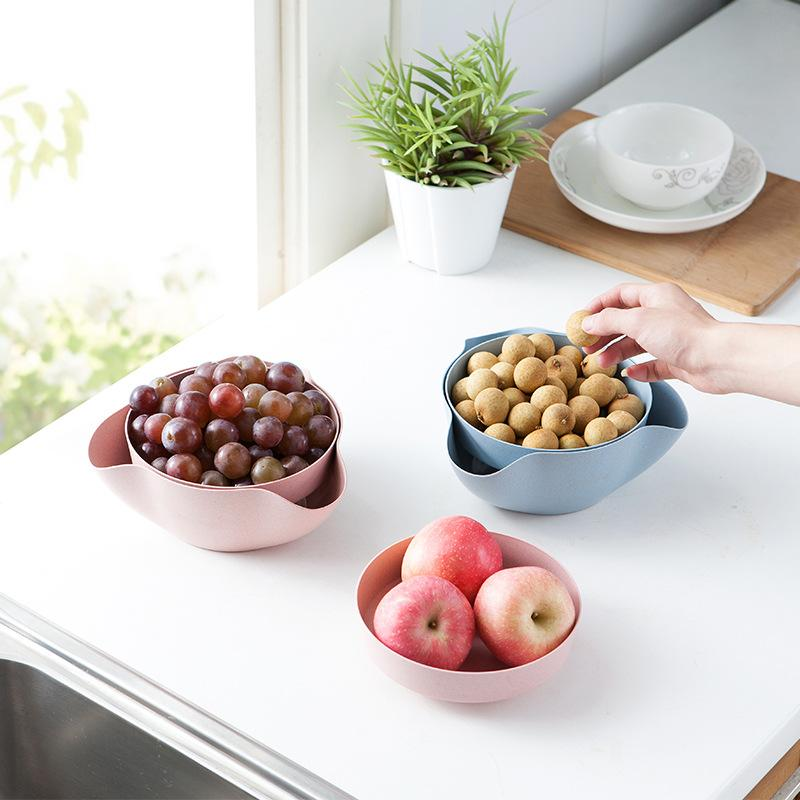 Hourong 1set Detachable Wheat Straw Fruit Plate Storage Tool Disc Dry Fruit Snacks Candy Dish Fruit Bowl Home Kitchen Gadgets
