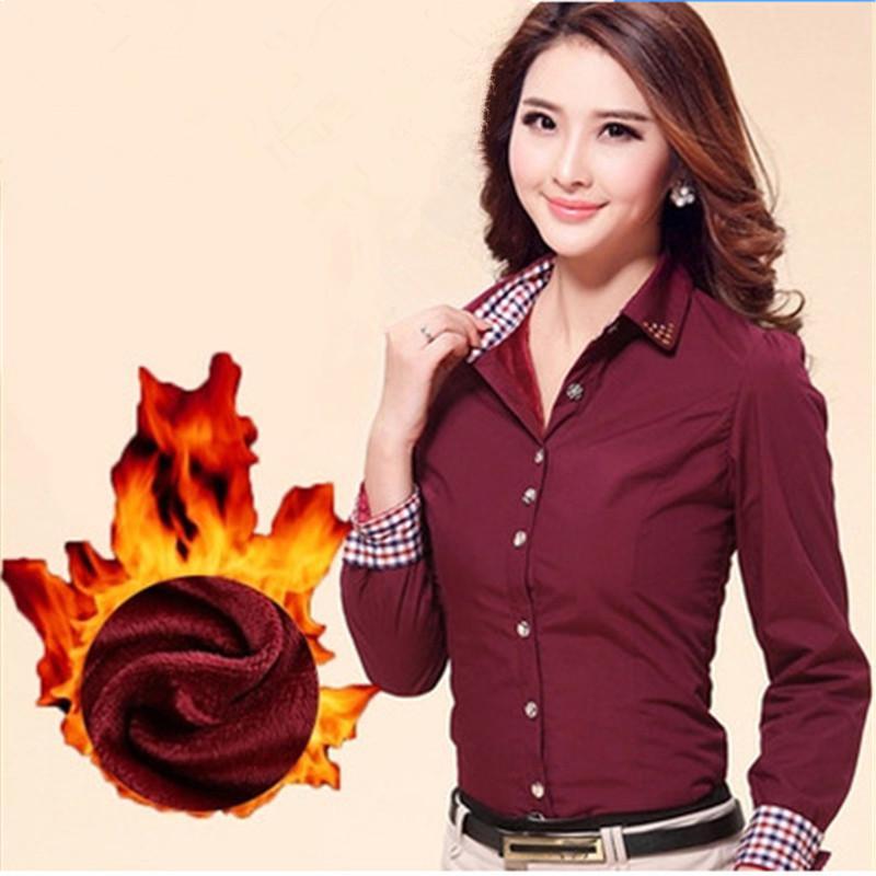 2019 Autumn Winter New Trend Lady Plus Velvet Warm Formal Shirts