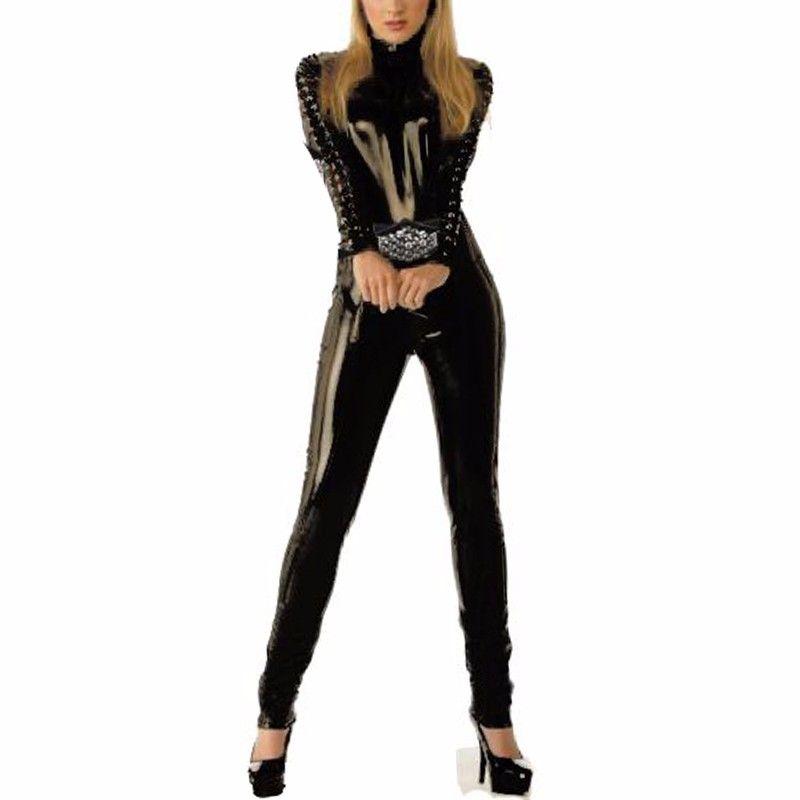 52b80c6039f4 2019 Sexy Women Black Wet Look Jumpsuit Full Body Overalls Skinny ...