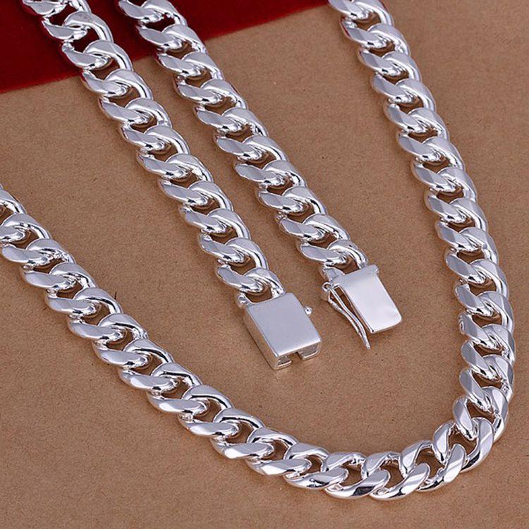Mai sbiadire Fashion Luxury Figaro Collana a catena Uomini Gioielli 925 Sterling SIlver Plated 10mm Imitazione Rhodium Collane a catena Uomo