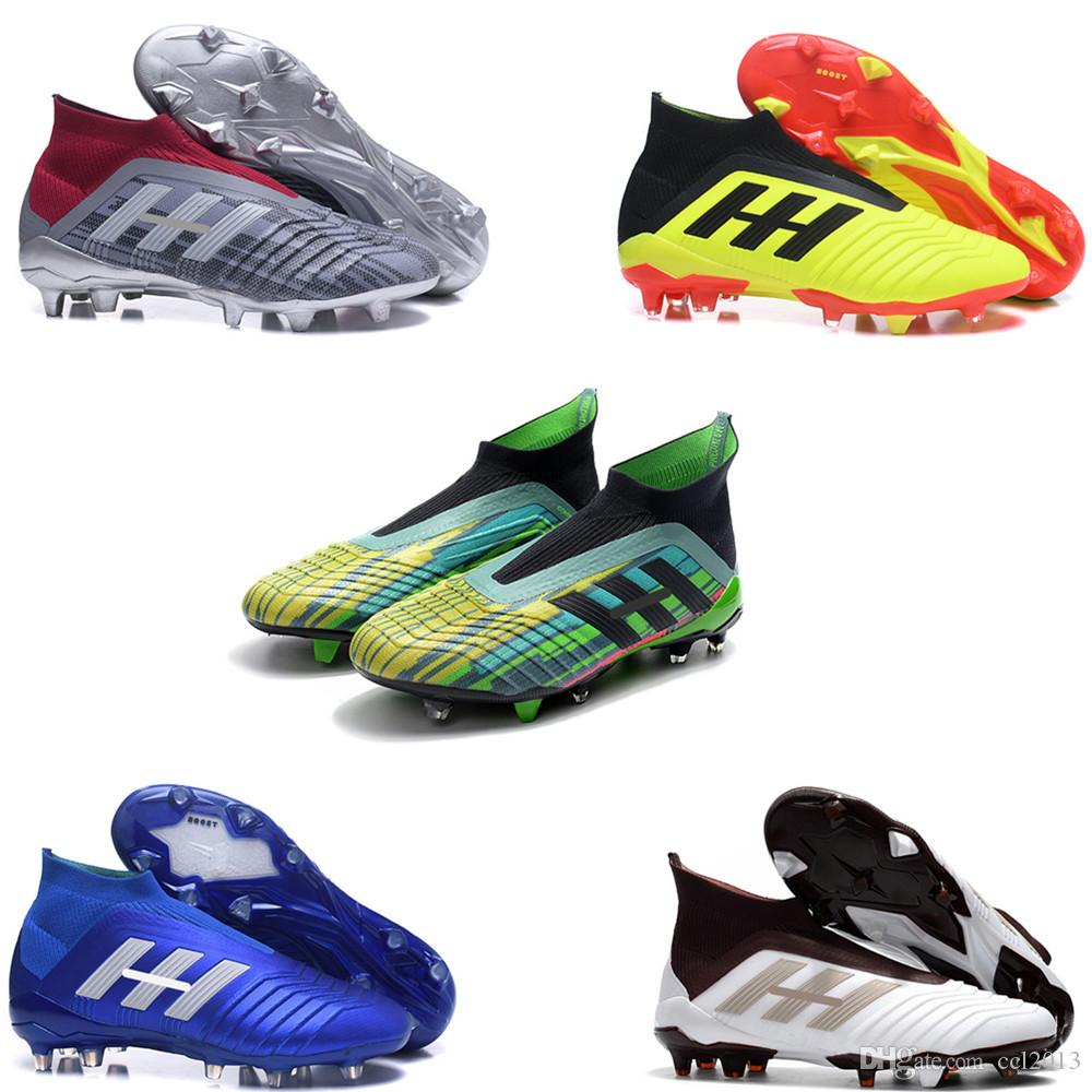 48e38d011382b 2018 Lastest Original Green Soccer Cleats Messi Predator 18+ And 18.1 FG  Mens Fashion Soccer Shoes Without Lace Size EU39-45