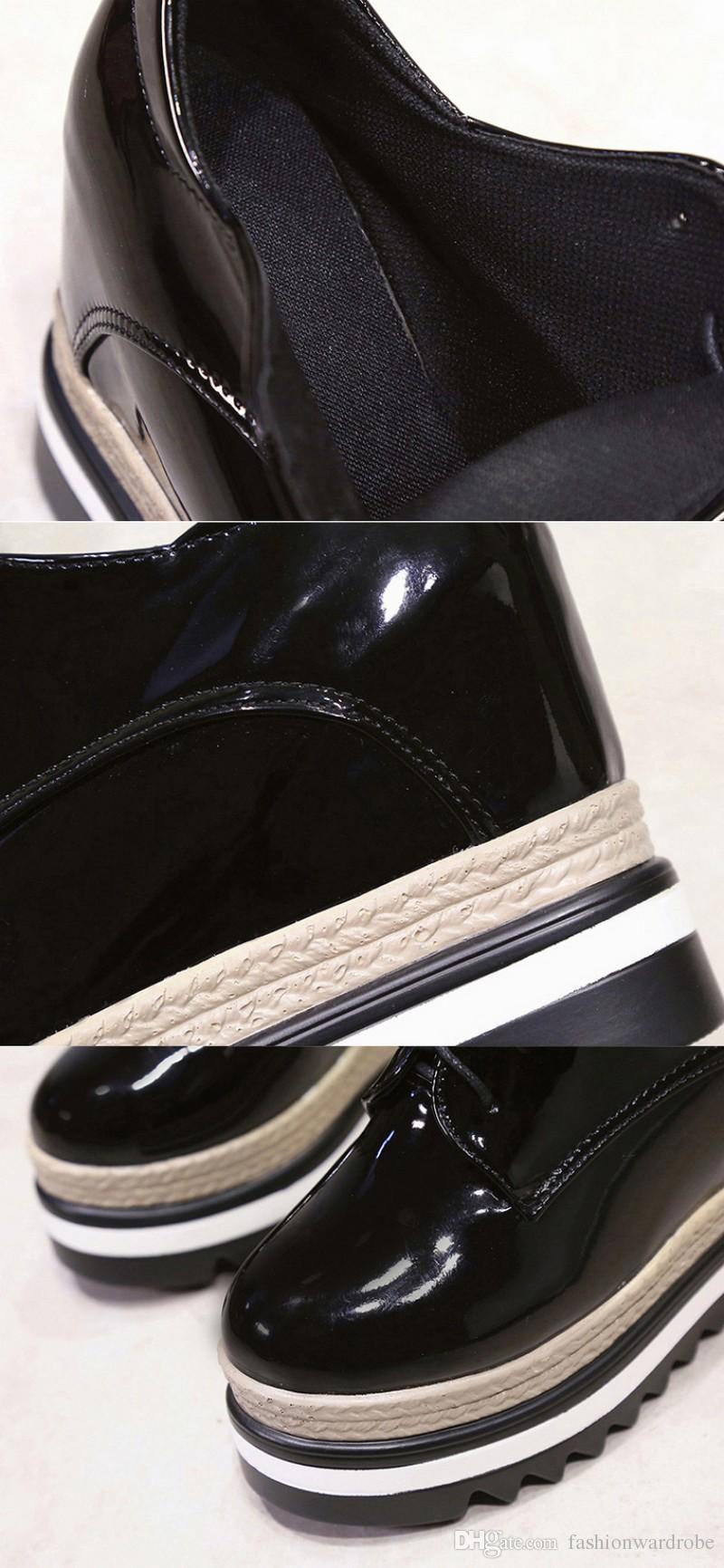Rugan Dantel Kadar Takozlar Yüksek Topuklu Kadın 10 cm Deri Yüksek Topuklar Kama Ayakkabı Düğün Lüks Ayakkabı Kadın Tasarımcıları Kama Sneakers