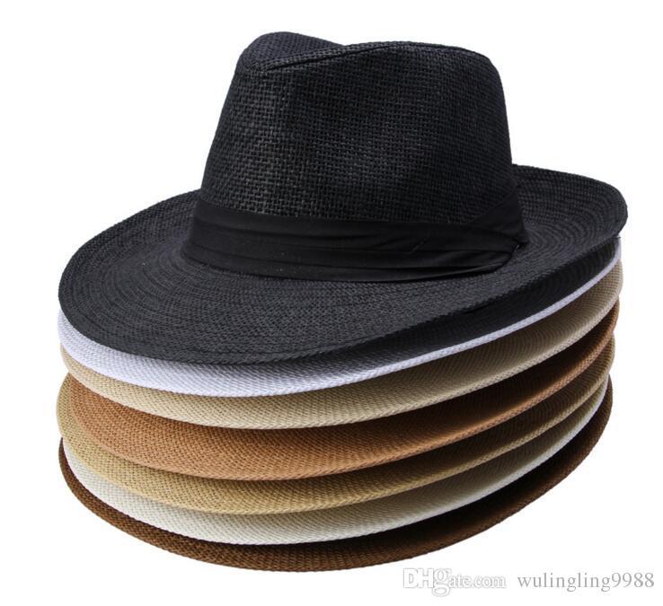 moda Ampla palha Brim chapéus, chapéu senhoras sol, chapéu de palha do verão, homens e mulheres grande chapéu de cowboy cap Praia 6 cores