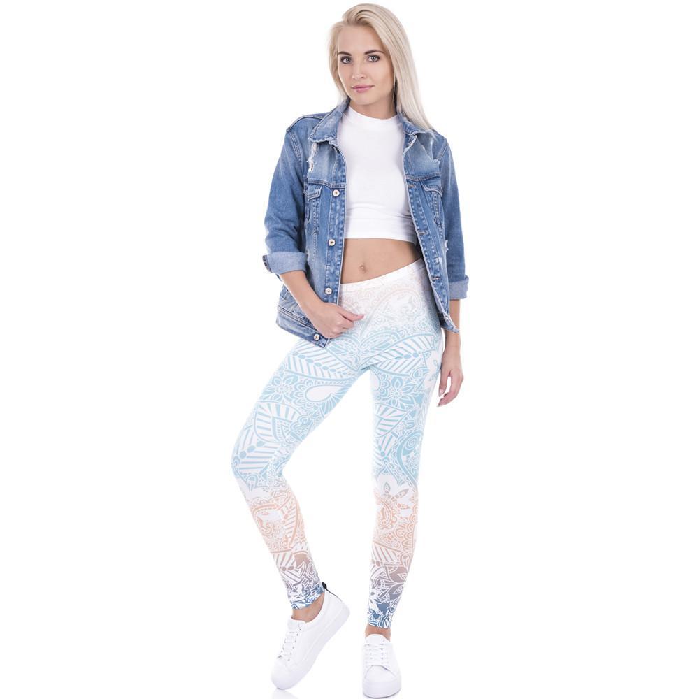b892509f3bf Brand Hot Sales Leggings Mandala Mint Print Fitness Legging High ...