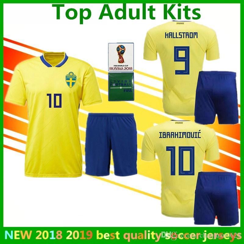 Adult Kit Sweden Football Uniform Ibrahimovic Soccer Jerseys Larsson