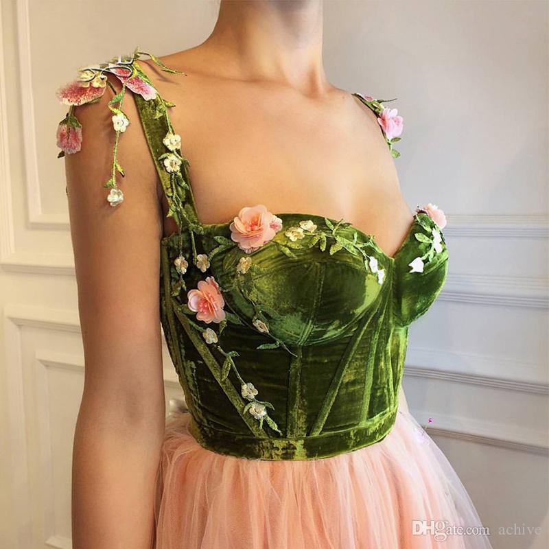 2018 Pêssego Vintage Longos Vestidos de Baile 2018 Robe de Soirée 3D Flor Floral Tule Até O Chão Vestidos de Noite Vestidos de Festa de Pageant para As Mulheres