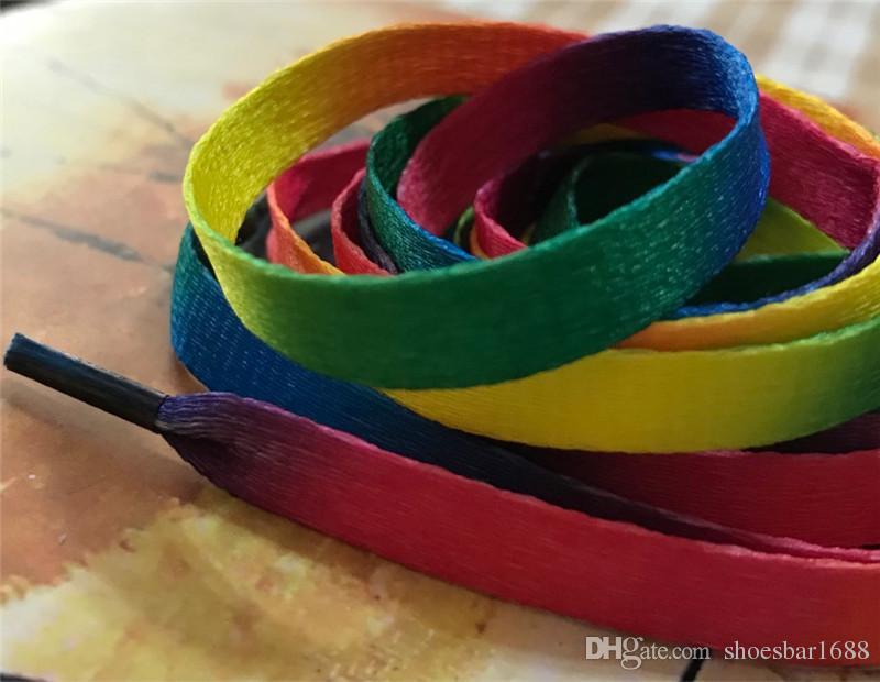 Wholesale Price Rainbow Shoelace Flat Canvas Athletic Multi colors Shoelace Sport Sneaker Shoe Laces Strings EH042