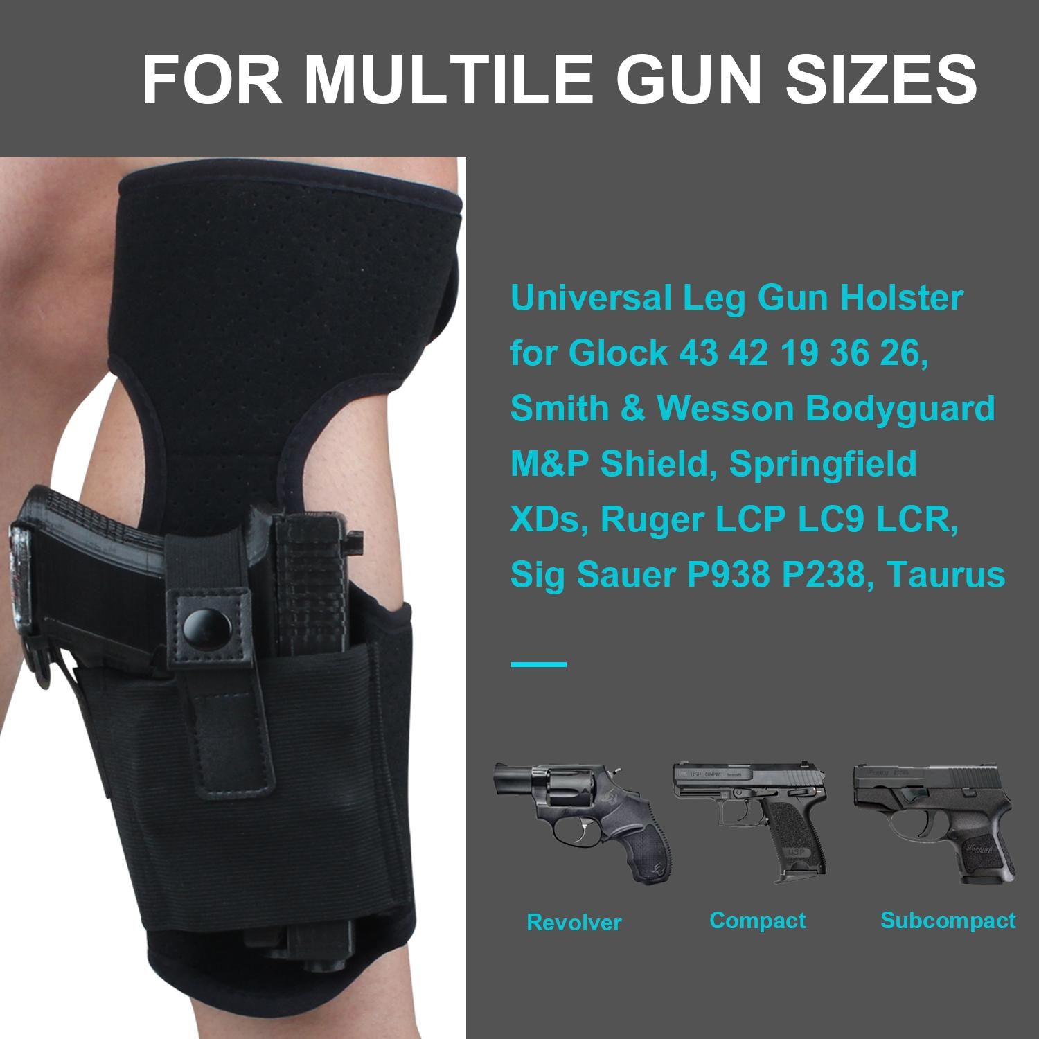 Ankle Holster for Concealed Carry | Universal Leg Carry Gun Holster with  Magazine Pouch Fits Ruger LCP 380 G26 G42 P938 S&W M&P