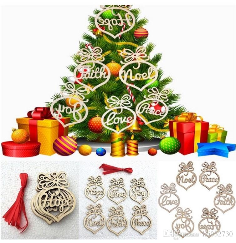 5pcs wooden Christmas tree ornaments adornment small hollow bubble pattern hanging ornament letter Hanging Ornament Christmas bulb shape han