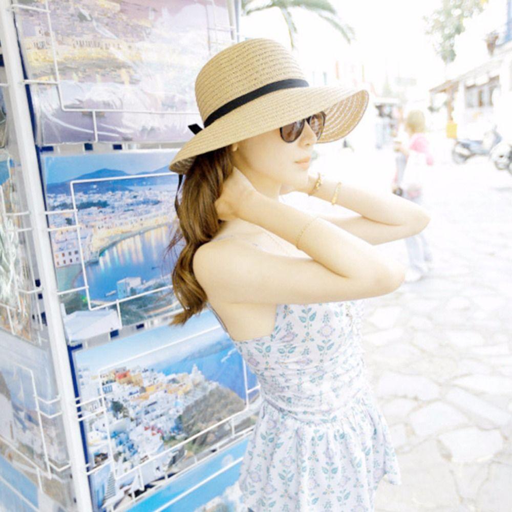 Summer Sun Hat With Bowknot Women Wide Brim Floppy Beach Hats ... 85a633cb3153