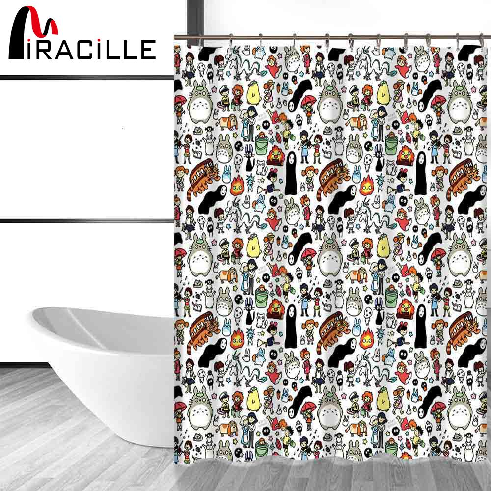 2018 miracille totoro cartoon cute shower curtains bathroom decor bath curtains waterproof polyester fabric kids curtain 12hooks from lazala - Cute Shower Curtains