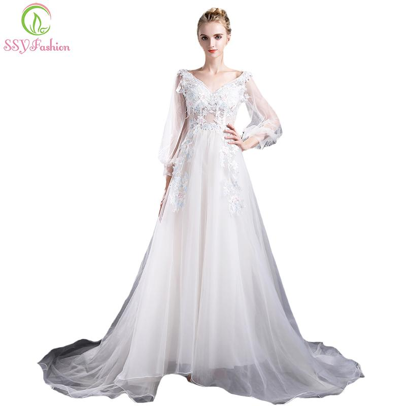 Ssyfashion New Banquet Sweet Prom Dress Romantic Lace Flower Long ...
