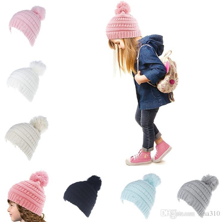 Compre Etiqueta Niños Sombreros De Invierno Cálido Bebé Niños Niñas ...