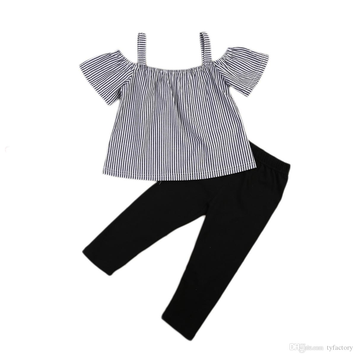 79aa99062d1f Kid Baby Girl Off Shoulder Tops T-Shirt Striped Print + Black Pants 2 Pcs Outfits  Kid Casual Clothes Girls Summer Boutique Costume