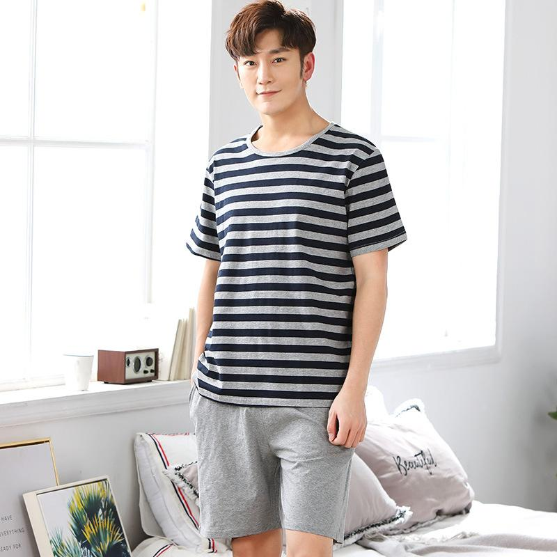 e3f37d4999 Compre Alta Calidad Mens Summer Spring Sleepwear Pijamas De Manga Corta  Conjuntos 100% Algodón Pijamas De Rayas Homewear Para Hombre A  30.57 Del  Newdlove ...