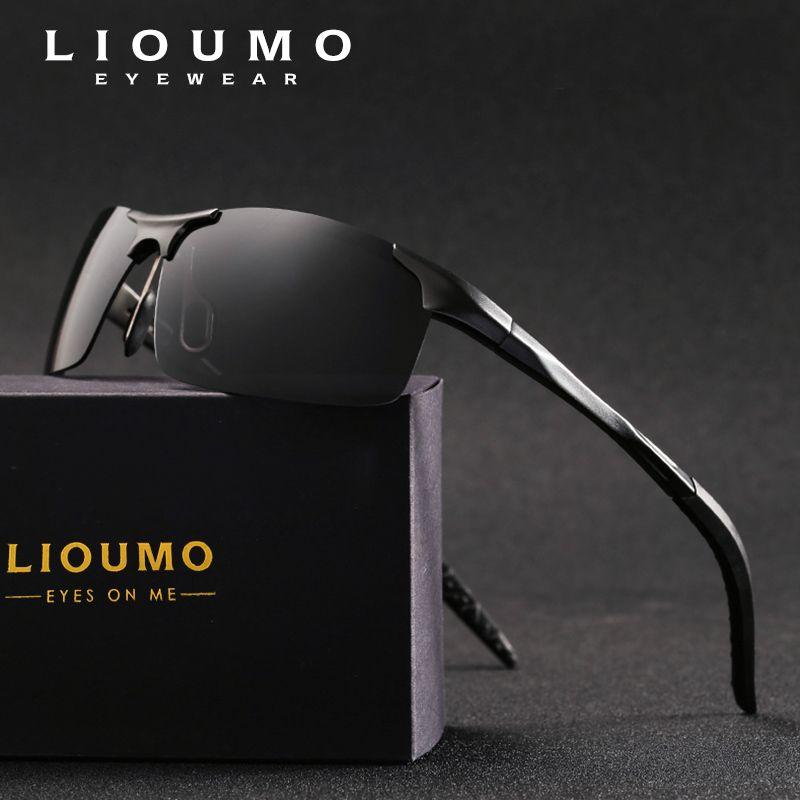 fa94a99160195 Compre LIOUMO Marca HD Polarizada Sunglasse Homens Clássicos Óculos De Sol  HD Condução Acessórios De Pesca Noite Motorista Óculos De Sol Oculos De Sol  ...