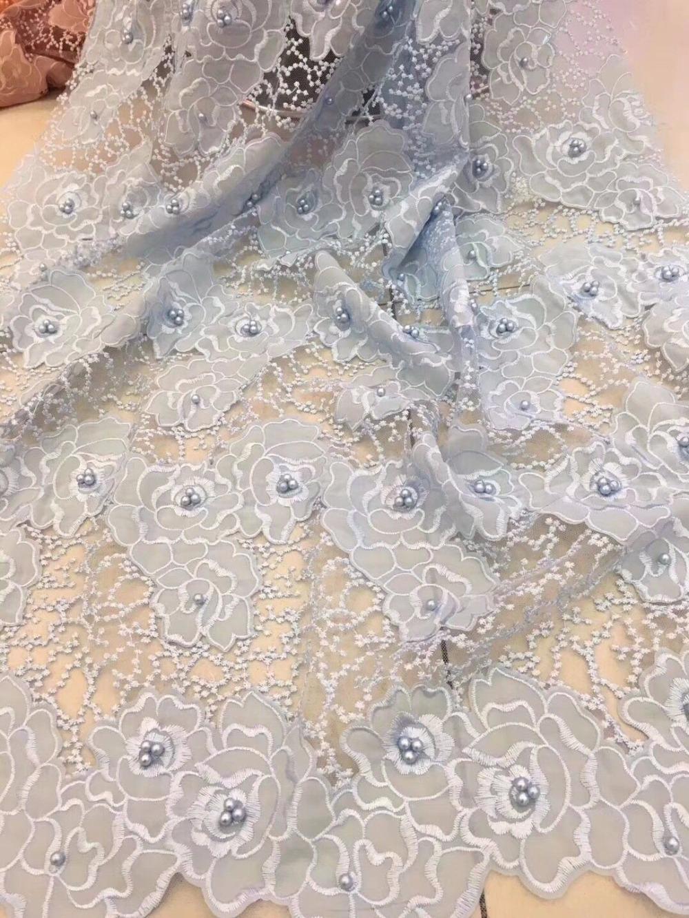 2017 bordado de malla tulle encaje tela 5 yardas patrón de flores con  cuentas telas de encaje africano al por mayor para el banquete de boda