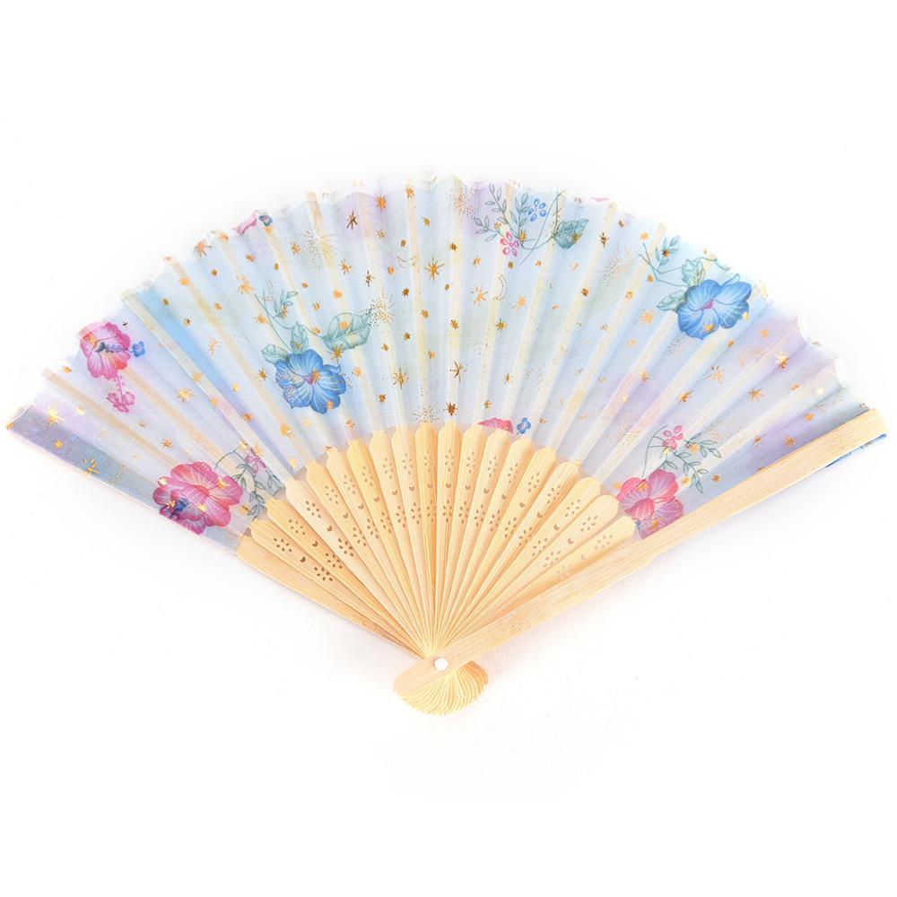 Flower Print Chinese Blossom Folding Hand Fans Designer White ...