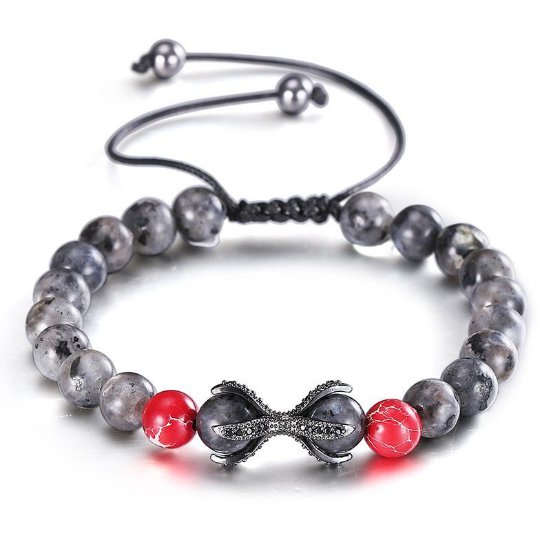 49622a9452a7 Pulseras casuales para los hombres granos rojos rojos brillante moda ajustable  cadena Punk joyería para niños hombres Charm Cuff pulsera brazaletes de  golpe