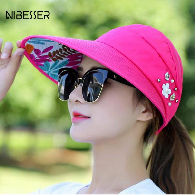 fe4e4cd57 NIBESSER Pearl Packable Sun Visor Hat Summer Women Beach Sun Hats With Big  Heads Wide Brim UV Protection Female Cap
