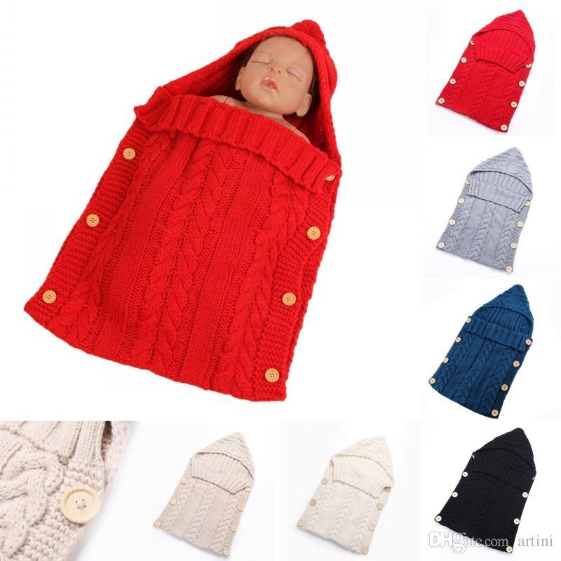 d0bc2dc84 Compre Baby Crochet Wraps Sacos De Dormir Para Niños Manta De Punto Swaddle  Crochet Saco De Dormir Para Bebés Sack Stroller Wrap Para 0 12 Month Baby  D441L ...