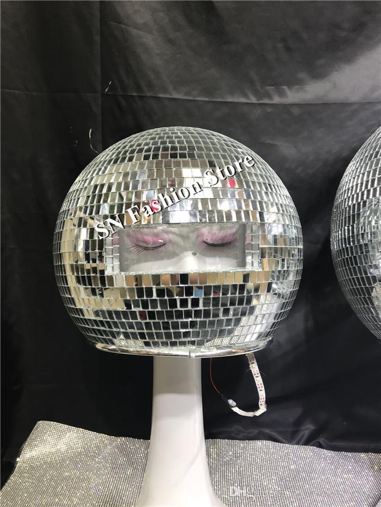 DC87 costumi Ballroom Dance rispecchiano uomini donne esposizione della fase cantante indossa dj vestirà sfera del LED modelli di spettacolo passerella discoteca casco di vetro indossa