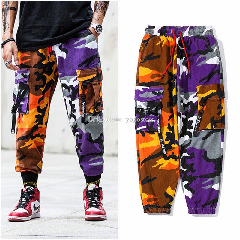 Compre 2018 Hip Hip Harem Pantalones Camuflaje Para Hombres Y Mujeres  Pantalón De Carga Táctico Streetwear Pantalón Amarillo Ejército Pantalones  De ... 51a8c36df3b