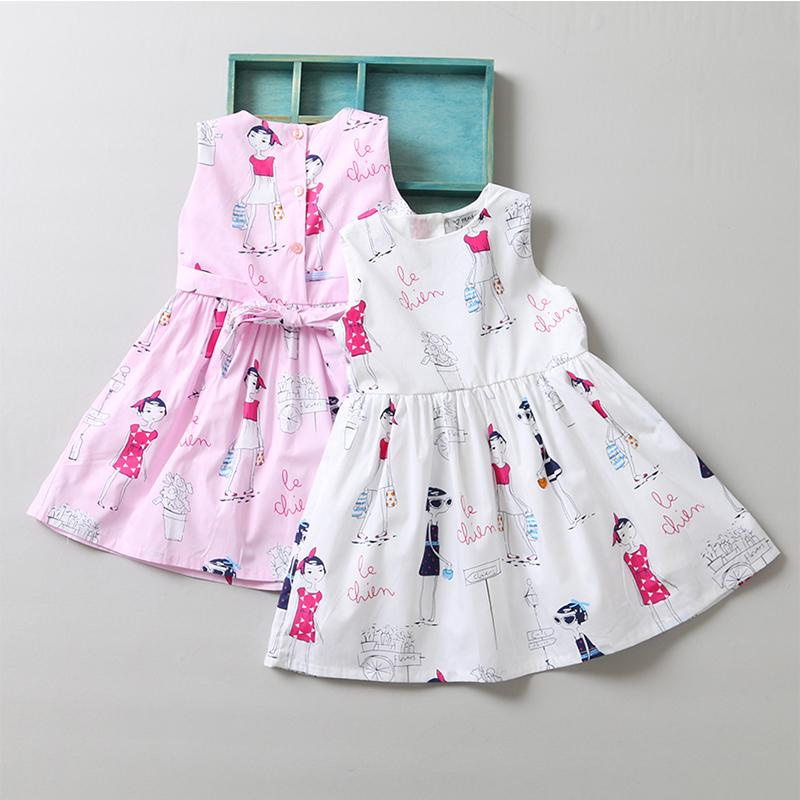 Bear Leader Girls Dresses 2017 New Summer Style Sleeveless Children Clothes Print Design Cute Ball Gown for Baby Girl Dress 3-7Y