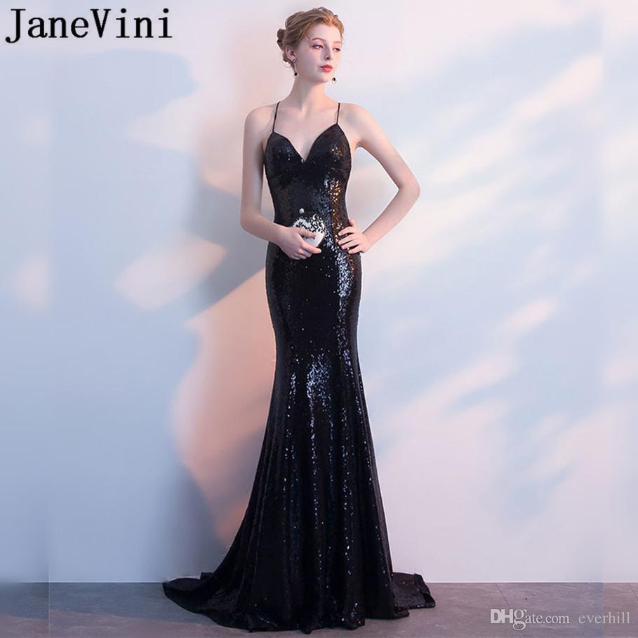 6584437059a Compre JaneVini Brillante Sirena Vestidos De Baile 2018 Sexy Bling  Lentejuela Negro Largo Vestidos De Noche Formales Barrido Tren Mujer  Vestidos De Fiesta ...