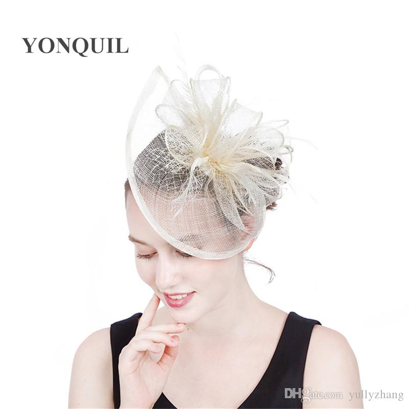 21d70a294e06a 2019 2017 Arrival Top Quality Sinamay Fascinator Hat With Feathers Veiling  For Church Kentucky Derby Wedding Races Or Summer Hat SYF192 From  Yullyzhang