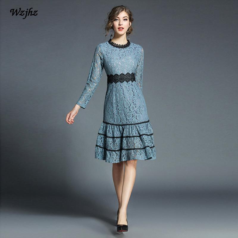 69099b81779ec Satın Al WZJHZ İlkbahar Ve Sonbahar Kadınlar Dantel Elbise Hollow O Yaka Ince  Dantel Paneli Fırfırlar Seksi Rahat Parti Elbise, $54.54 | DHgate.Com'da