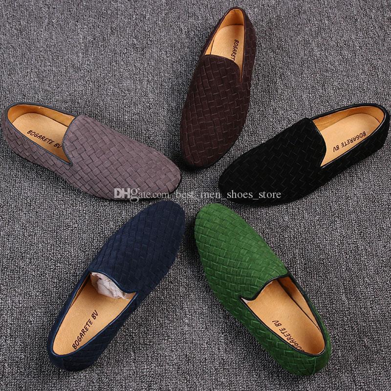Плетеные ручной работы вождения мокасины плоский каблук скольжения на дышащей Peans обуви платье обувь
