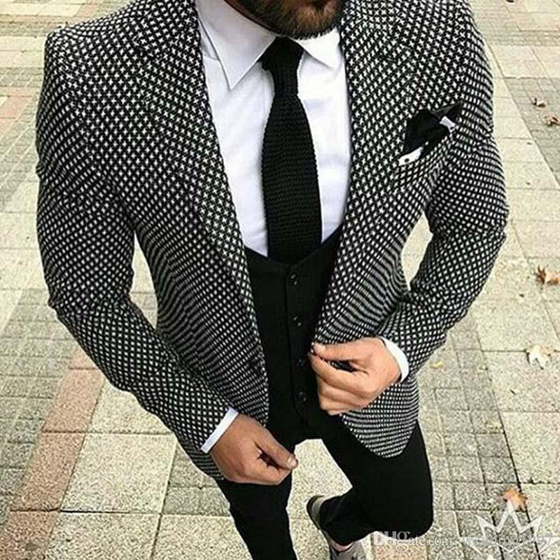 Grid Cloth Men Suits 2018 Wedding Groom Tuxedos Slim Fit Three Piece Jacket Pants Vest Notched Lapel Man Clothing Blazer