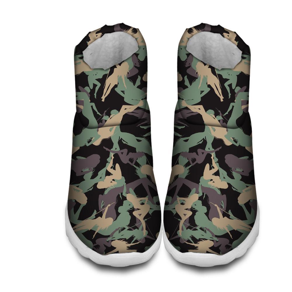 413485b66e64 ELVISWORDS Women Boots Camouflage Print Snow Boots Women Ankle Winter  Female Flats Shoes Solid Booties Woman Winter Black Combat Boots Chelsea  Boots Women ...