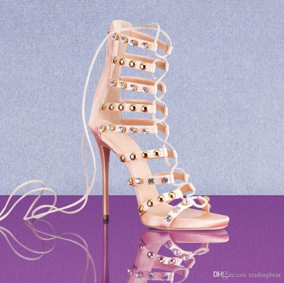 0de708a9ad1e6c Luxury Multi Strappy Rivets Rhinestone Lace Up Sexy High Heels Sandal For  Women Designer Shoes Size 35 To 40 Silver Sandals Gold Sandals From  Tradingbear