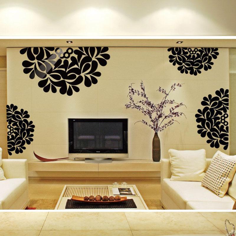 3d Decorative Flowers Pattern Auspicious Backdrop Decorated Living ...