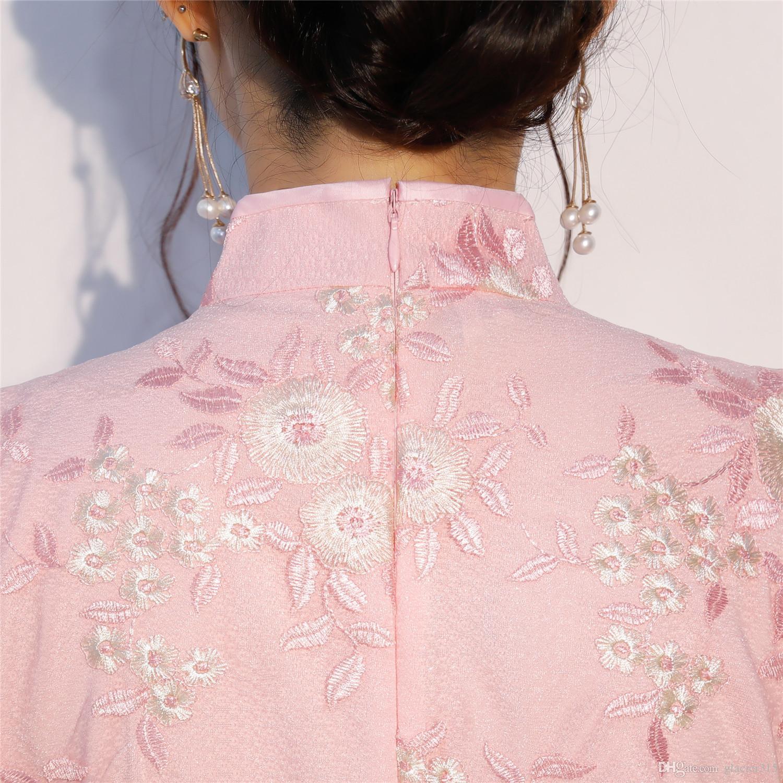 Shanghai Story Lace Chinese Traditional dress long Cheongsam Short Sleeve Pink Qipao Knee Length Chinese Oriental Dress