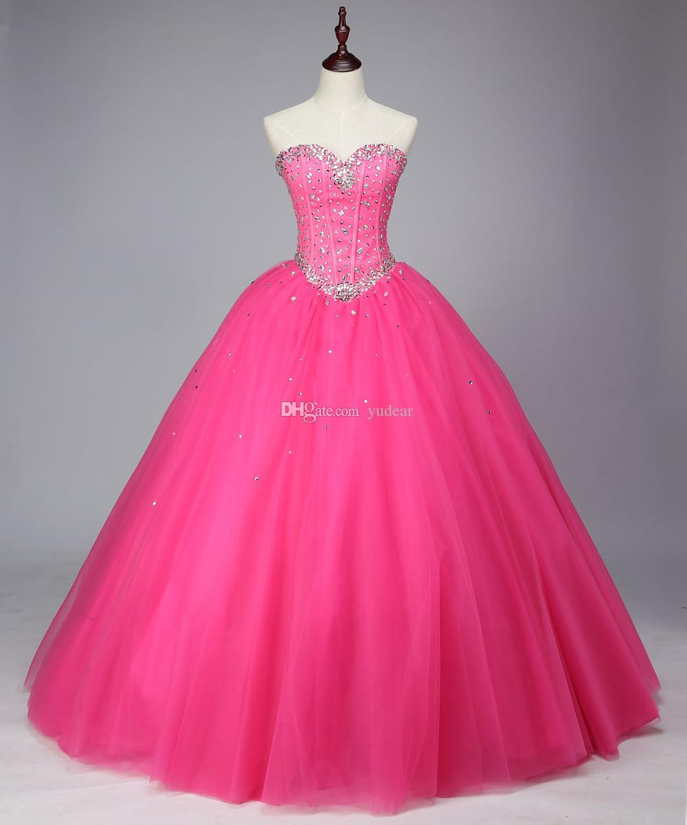 4126a5ecef06 2018 New Arrival Sweetheart Ball Gown Quinceanera Dresses Summer Backless  Debutante Gowns Shining Rhinestones Lace Up Sweet 15 Pageant Dress Magenta  ...