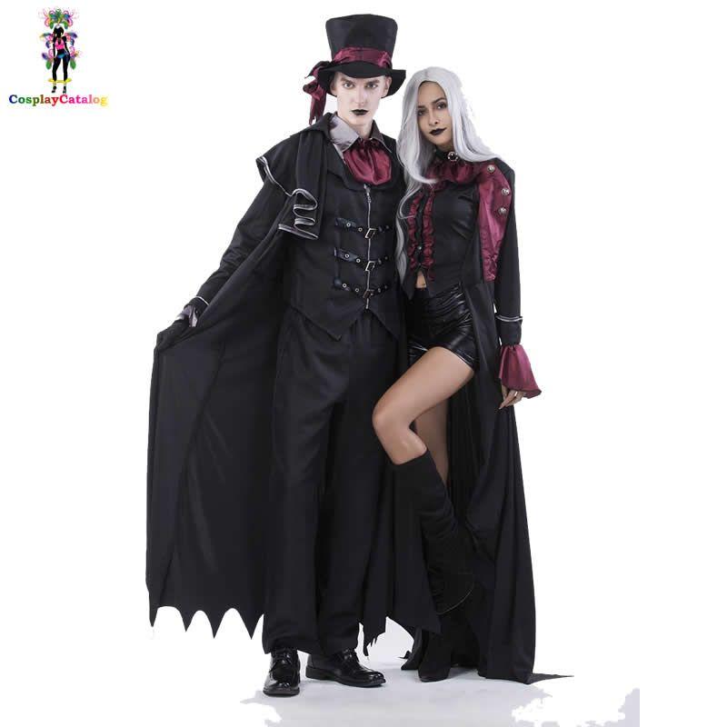 Halloween Vampire Couple Costumes Men S Bloody Handsome Costume Womens  Steampunk Vampiress Uniforms Blood Countess Kits